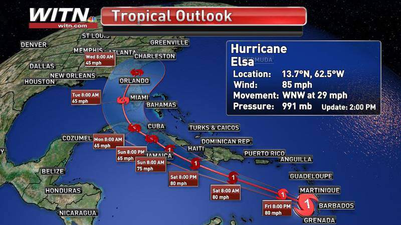 Hurricane Elsa 2pm Friday