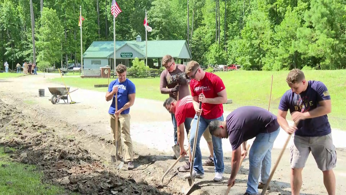 Marines on Friday helped build a drainage ditch at a Civil War battlefield park.