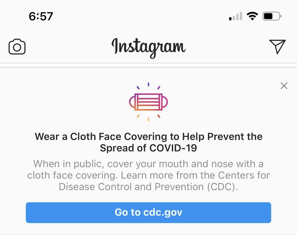 Instagram urges masks
