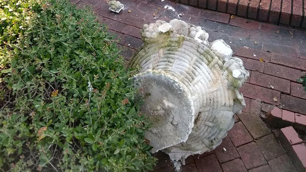A gardener discovered the damage and New Bern police were called in to investigate.
