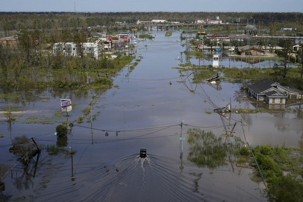 Homes, businesses and roads are flooded in the aftermath of Hurricane Ida in LaPlace, La.,...