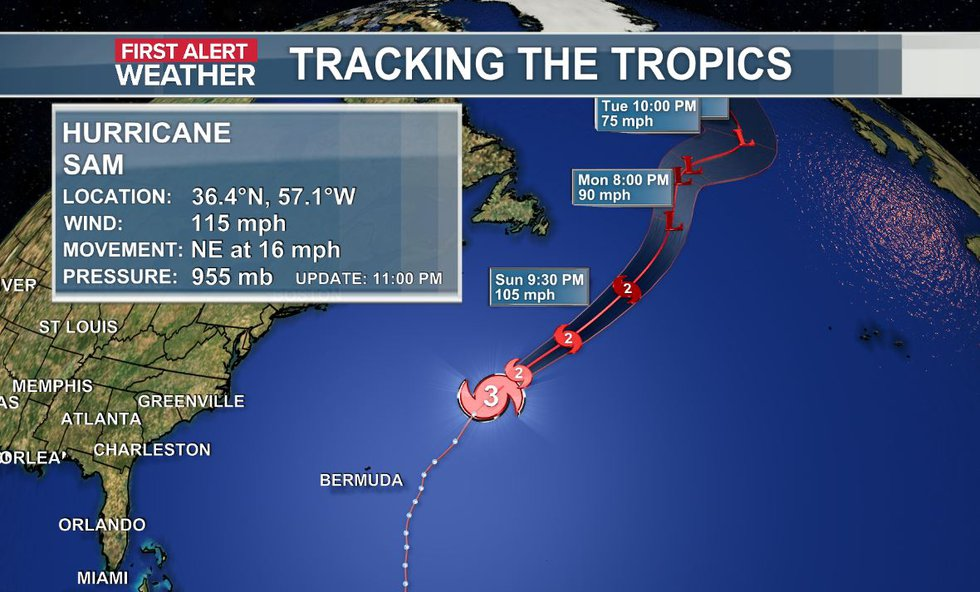 The official data and track of Hurricane Sam as of the 11 p.m. update (10-2).