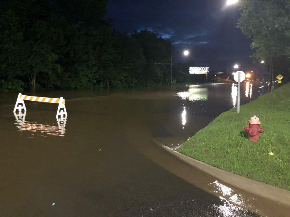 Flooding on Evans Street near Arlington Boulevard