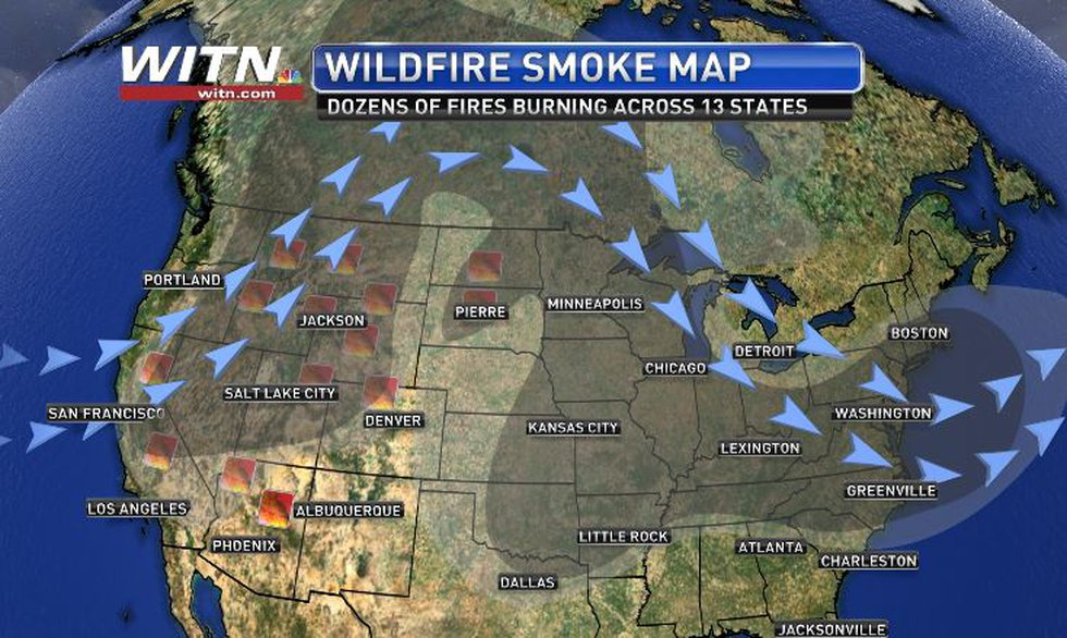 Jet stream carried wildfire haze through Canada and back into the US.