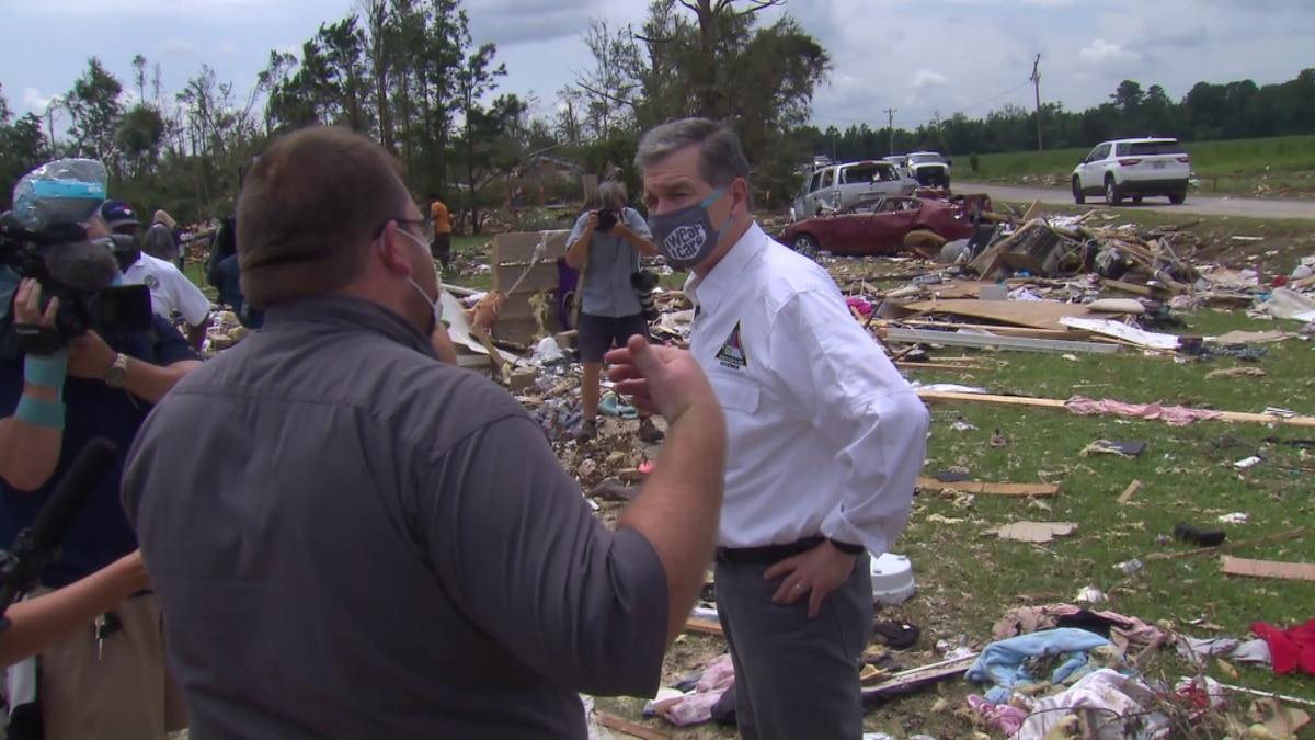 Gov. Roy Cooper on Wednesday toured damage in Bertie County.