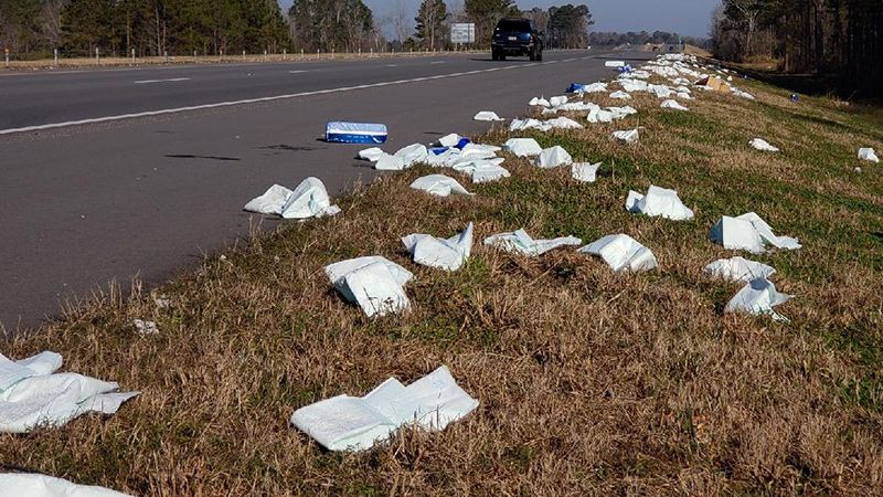 Adult diapers littered this Pitt County highway.