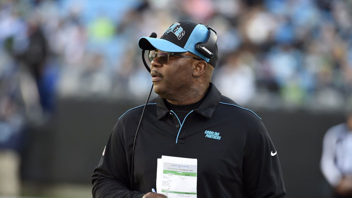 Carolina Panthers interim head coach Perry Fewell looks on from the sidelines during the second half of an NFL football game against the Seattle Seahawks in Charlotte, N.C., Sunday, Dec. 15, 2019. (AP Photo/Mike McCarn)