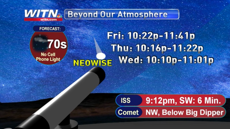 Where and when to look for the comet and the ISS