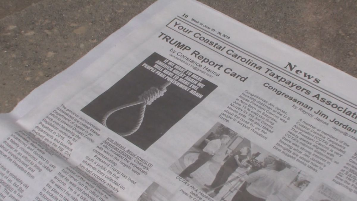 An image of a noose in The County Compass newspaper in Pamlico County has members of the community speaking out about the racial undertones it depicts.