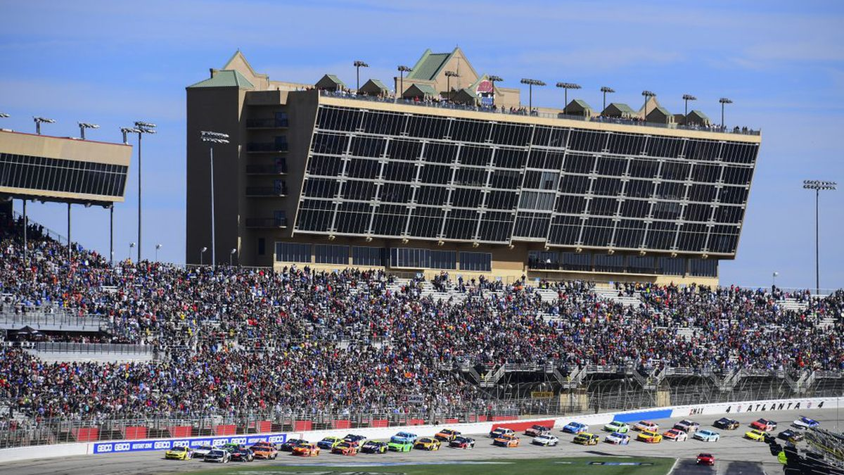 FILE - In this Feb. 24, 2019, file photo, a NASCAR Monster Energy NASCAR Cup Series auto race...