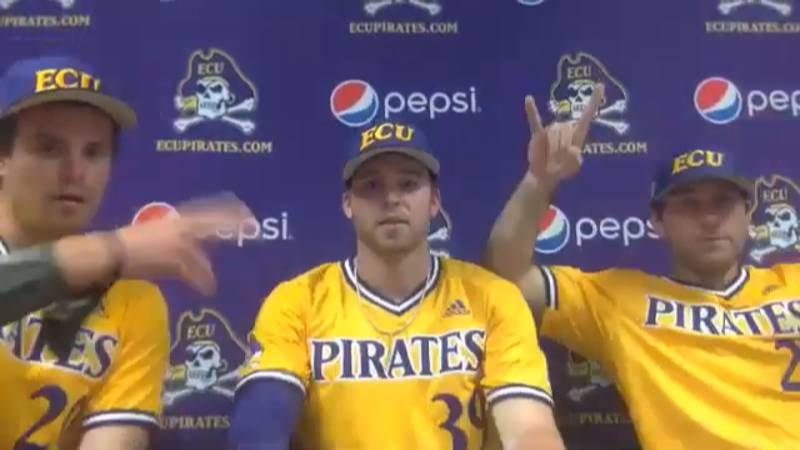 Tyler Smith, Cam Colmore and Matt Bridges - ECU Baseball