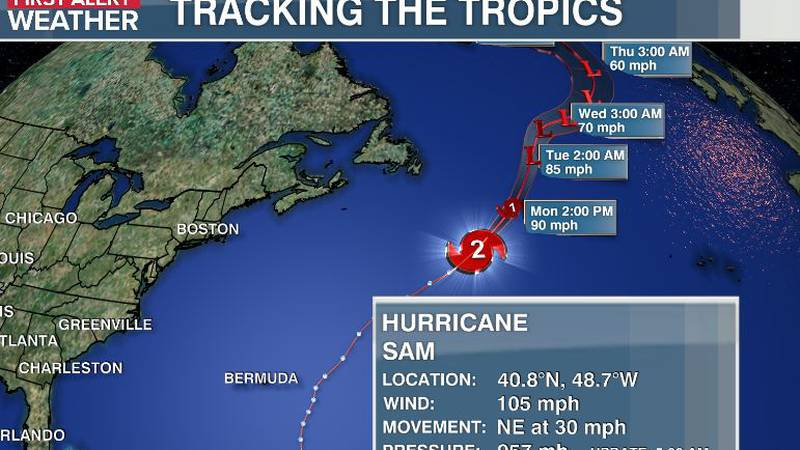 Sam will be moving over much colder north Atlantic waters the next 2 days