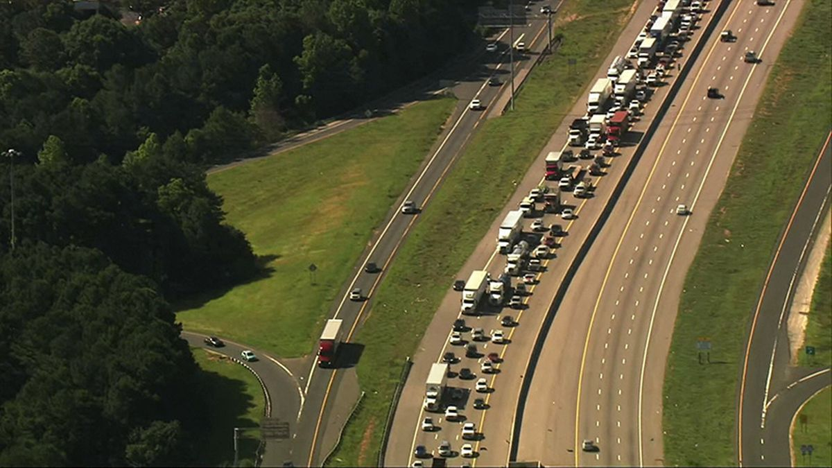 The Highway Patrol says vehicles started driving around ten miles per hour on Interstate 40.