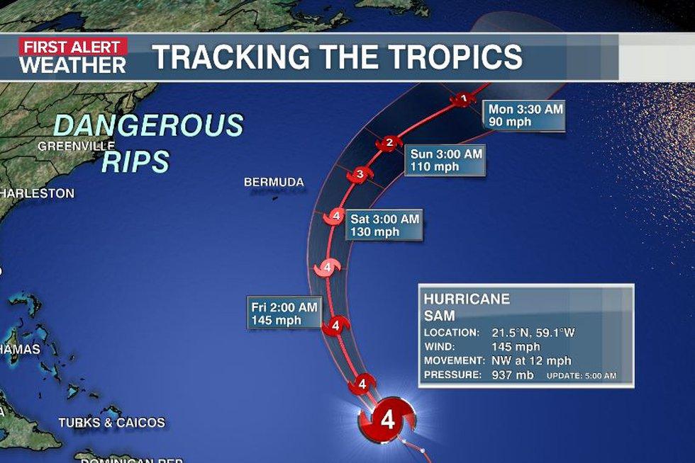 Powerful hurricane Sam staying well offshore