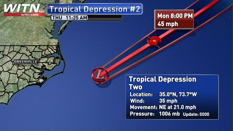 The storm is expected to become Tropical Storm Bill later today, but poses no threat to U.S.