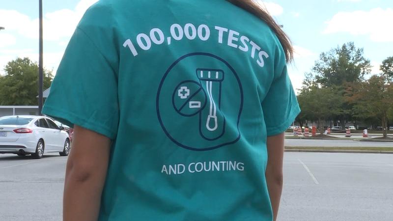 Vidant Medical Center commemorates 100,000 COVID-19 tests given.
