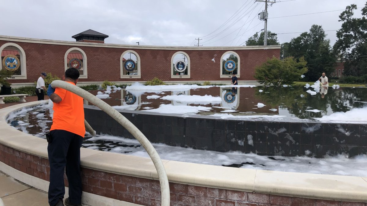 Crews are cleaning up the Freedom Fountain in Jacksonville after it gets 'soaped.'