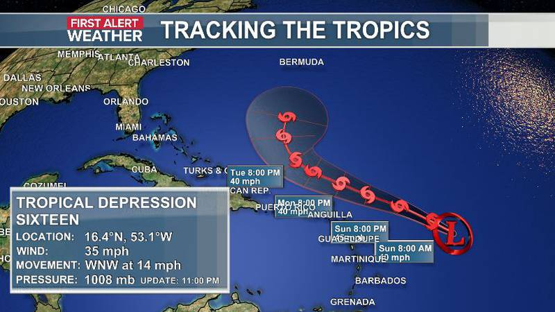Tropical Depression Sixteen has formed in the Atlantic