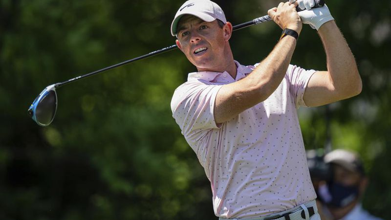 Rory McIlroy tees off on the seventh hole during the fourth round of the Wells Fargo...