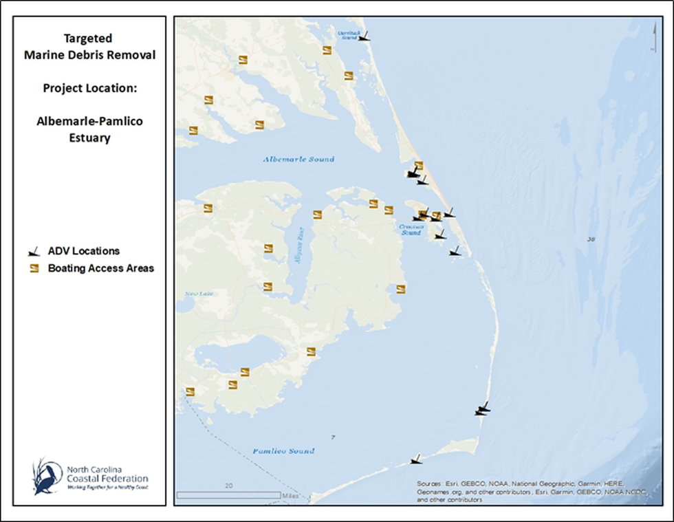 This graphic depicts the location of the ADVs that are slated for removal.