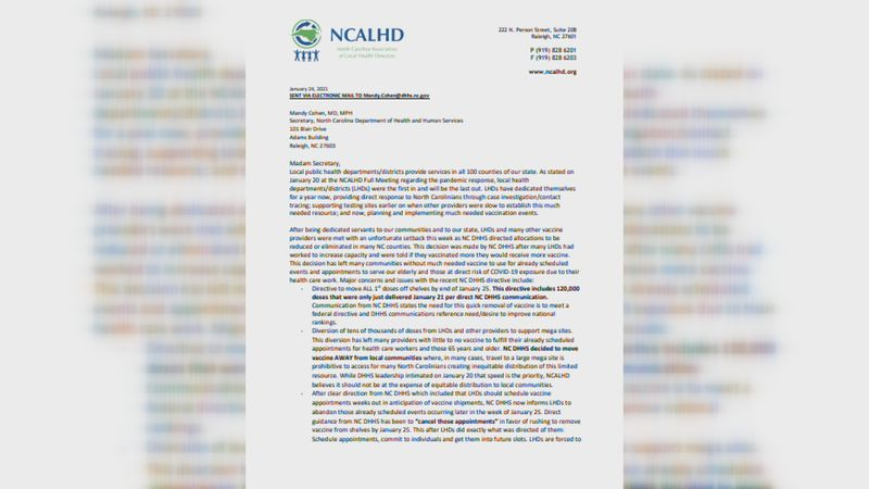 A letter signed by North Carolina county health directors voicing frustration over decreased...