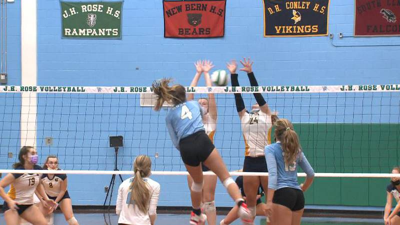 12th ranked J.H. Rose edged 7th Ranked D.H. Conley 3-2 in high school volleyball.