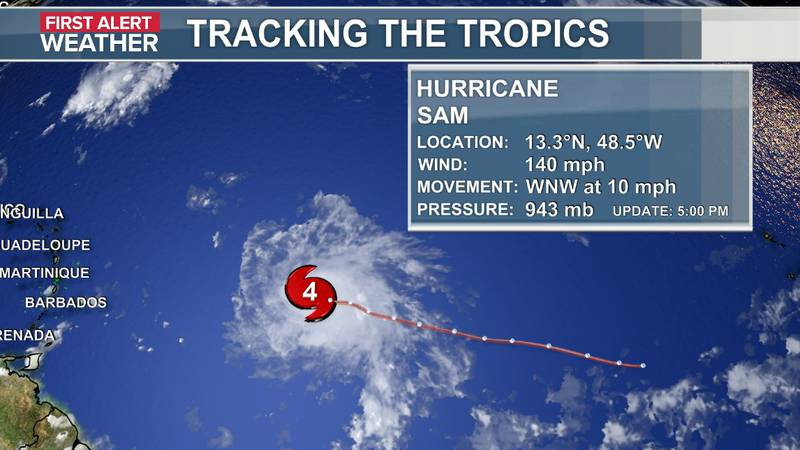 The official data and track of Hurricane Sam as of the 5 p.m. update (9-25).