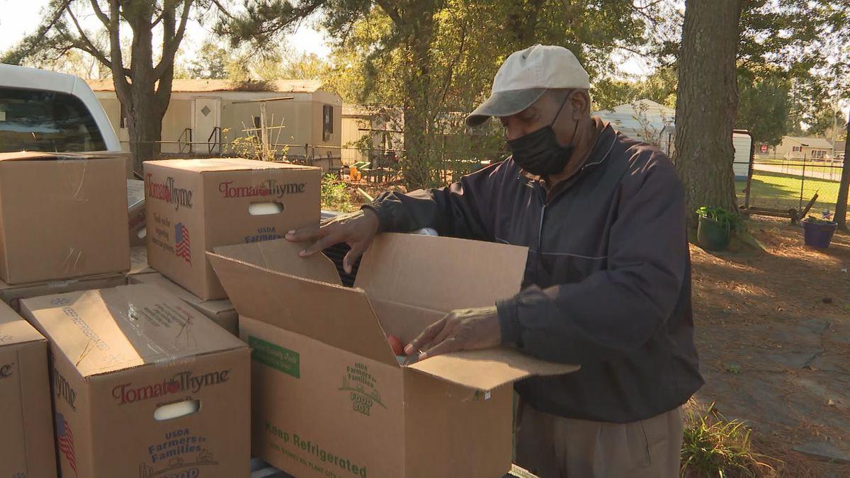 Winterville seniors receive food boxes.