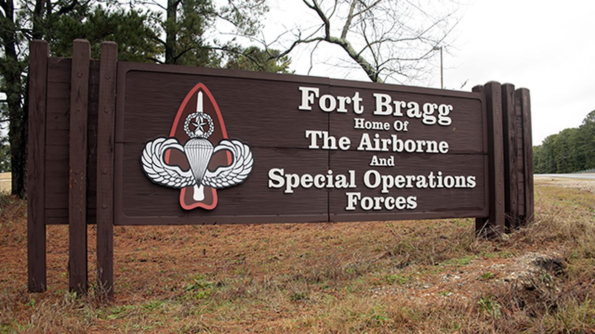 FILE - This Jan. 4, 2020 file photo shows a sign for at Fort Bragg, N.C.  (AP Photo/Chris...