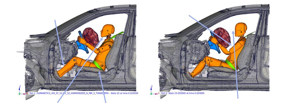 A graphic from Humanetics shows the differences between the Hybrid III 5th Female dummy (left)...