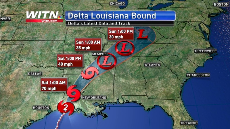 Delta officially made landfall on the Gulf Coast as a category 2 hurricane.