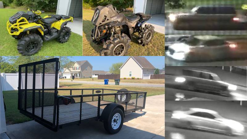 Photos of the stolen four-wheelers and trailer (left). Photos of the cars involved (right).