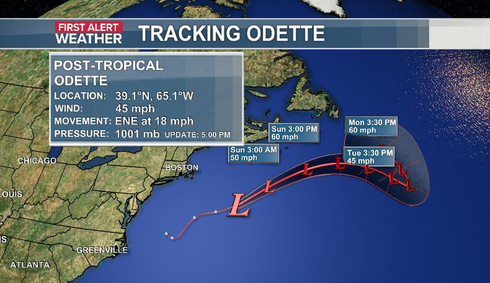 Odette moves away from coast