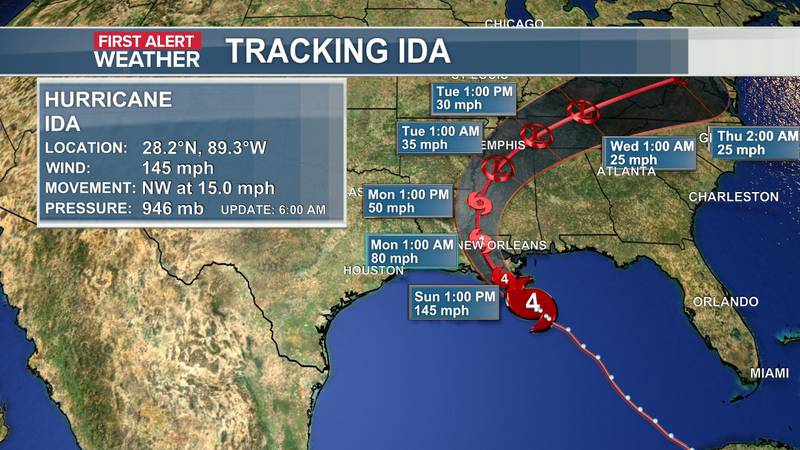 The official track and data of Hurricane Ida as of the 5 a.m. update (8-29).