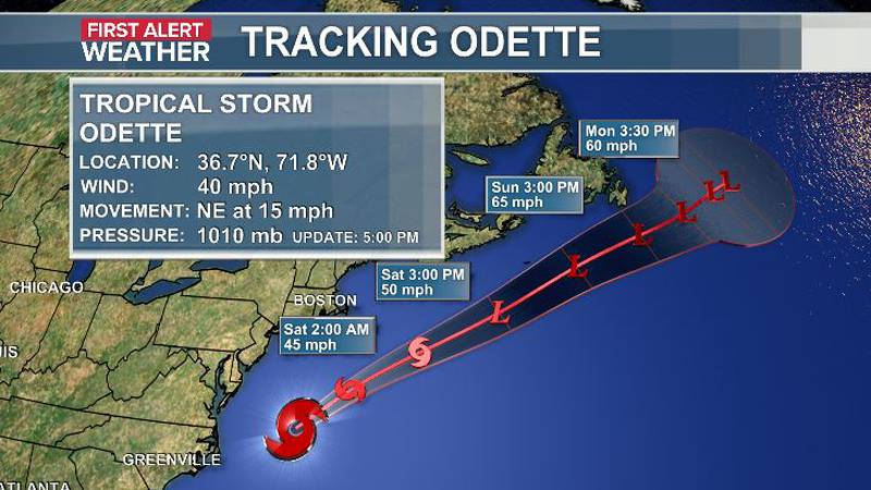 Tropical Storm Odette has winds of 40mph