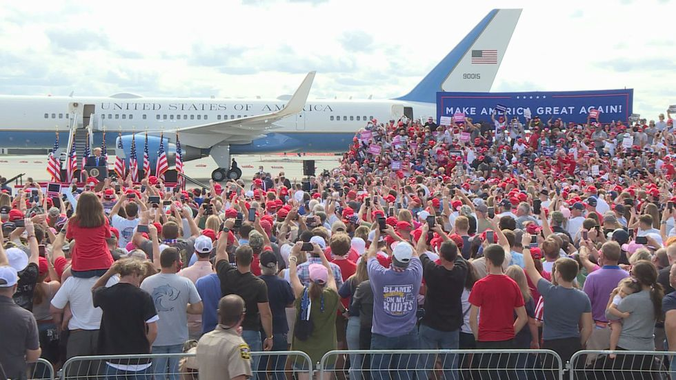 President Trump holds campaign rally at Pitt-Greenville Airport.