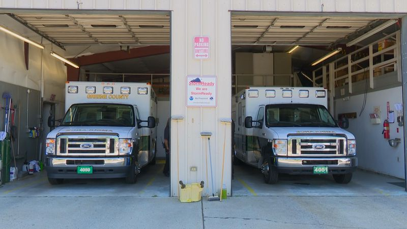 Greene County EMS trucks.