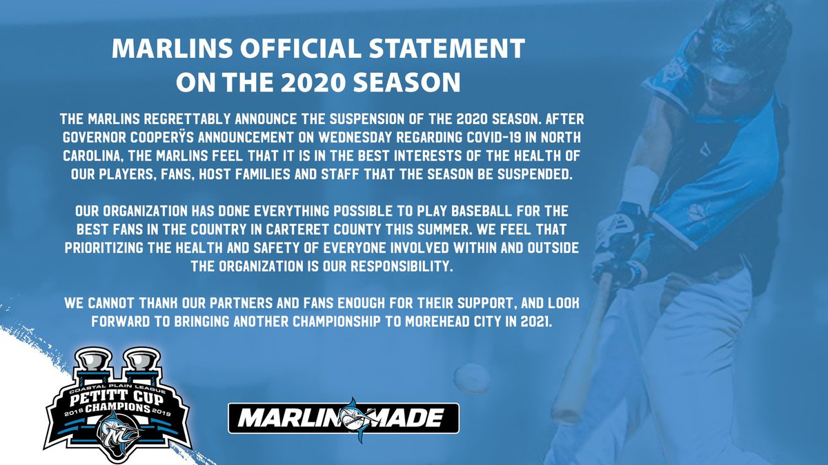 Morehead City Marlins suspend 2020 season