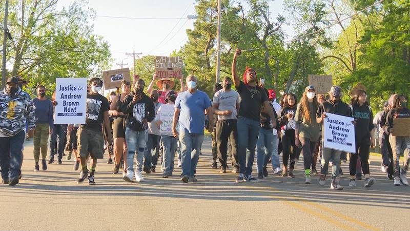 Protests over the shooting death of Andrew Brown Jr. continue in Elizabeth City on Saturday.