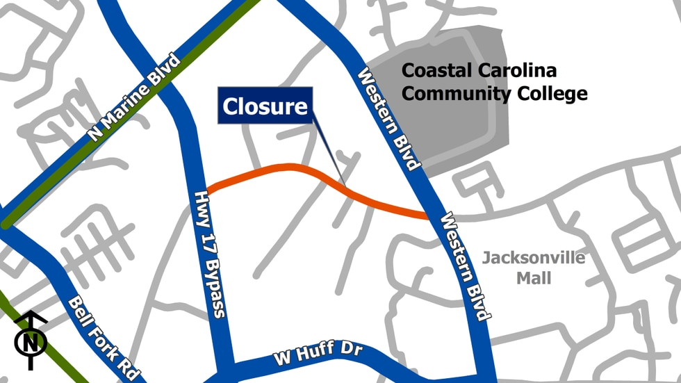 The westbound lane of Country Club Road from the intersection of Western Blvd is closed after a water line break.
