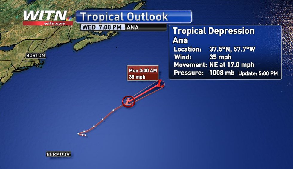 The official track and data of Tropical Depression Ana as of the 5 p.m. update (5-23)