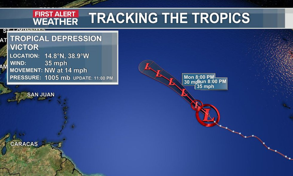 The official data and track of Tropical Depression Victor as of the 11 p.m. update (10-2).