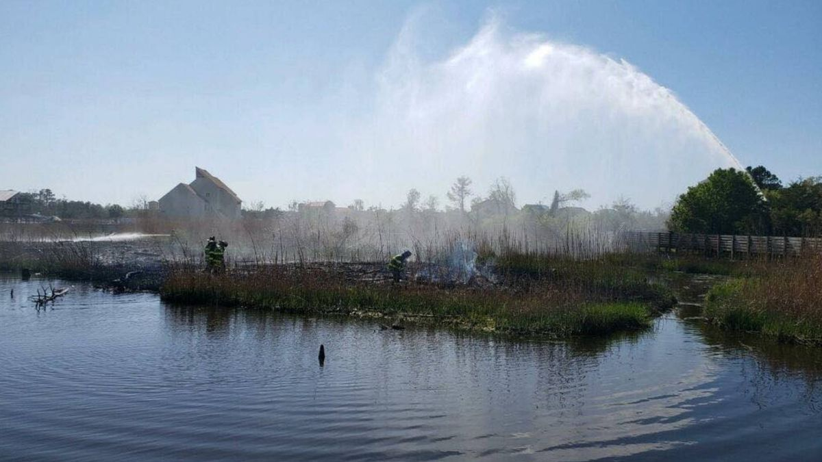 Jacksonville Fire and Emergency Services personnel put out a brush fire in Jacksonville on...