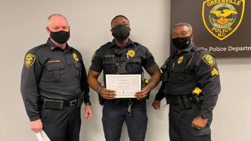 Greenville Officer recognized for life-saving efforts