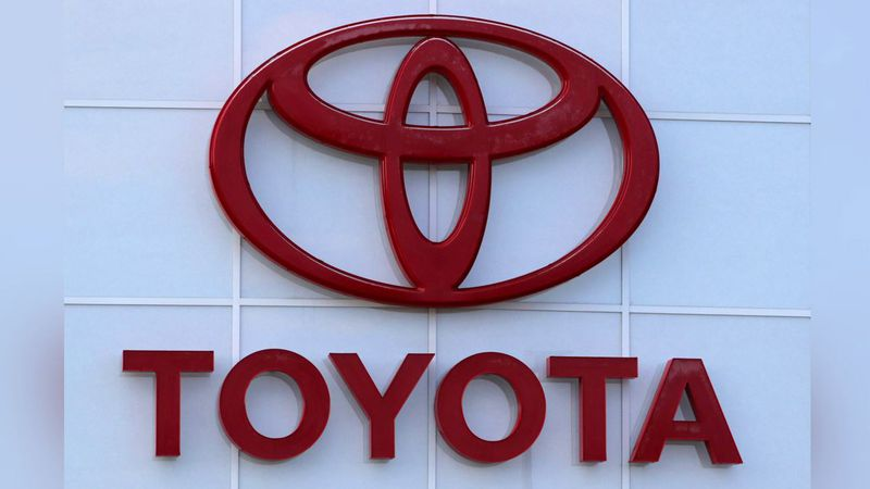 This Aug. 15, 2019 file photo shows the Toyota logo on a dealership in Manchester, N.H.