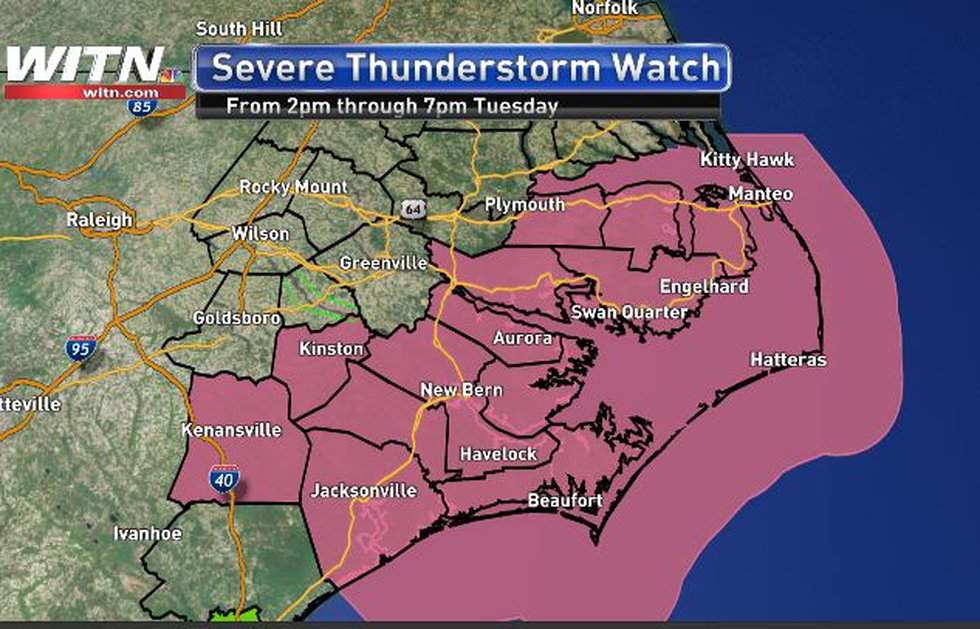 The watch will be in effect from 2pm to 7pm Tuesday
