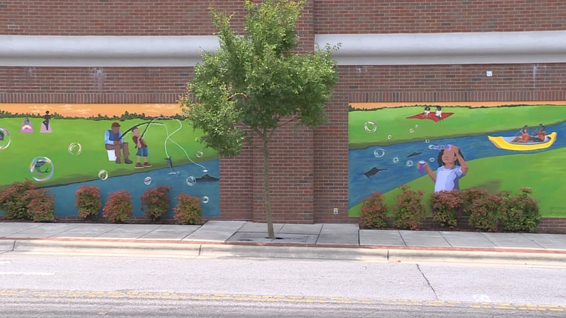 New mural on the 4th Street side of the public parking deck in uptown Greenville, NC.