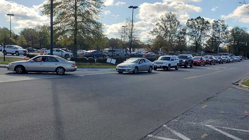 Long lines Monday morning at this testing site in Greenville.