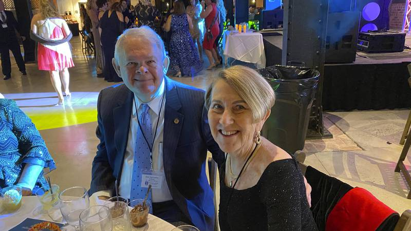 This photo shows Don and Margie Varnadoe attending a March 2021 awards banquet in Savannah,...