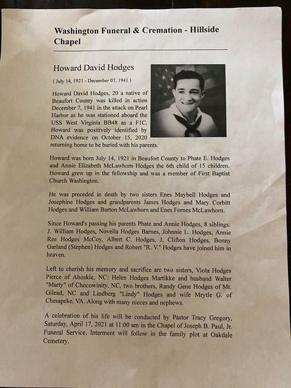 Obituary of Howard Hodges, one of the many missing shipmen in the Japanese attack on Pearl...